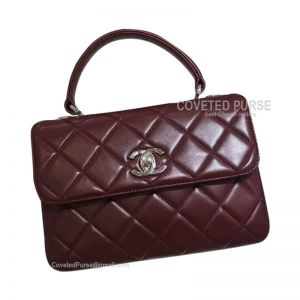 Chanel Wine Lambskin Flap Bag With Top Handle Silver HW
