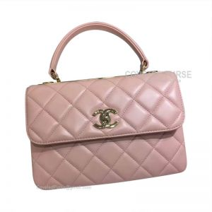 Chanel Light Pink Lambskin Flap Bag With Top Handle Gold HW