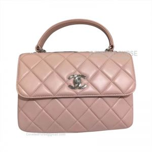 Chanel Light Pink Lambskin Flap Bag With Top Handle Silver HW