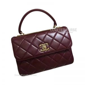 Chanel Bordeaux Lambskin Flap Bag With Top Handle Gold HW
