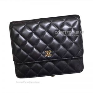 Chanel Small Flap WOC Lambskin With Gold HW Black