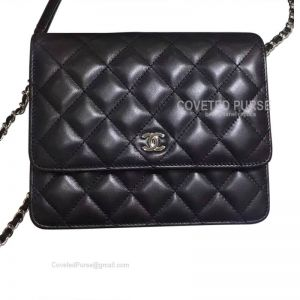 Chanel Small Flap WOC Lambskin With Silver HW Black