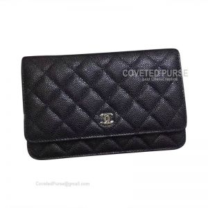 Chanel Small Flap WOC Caviar With Silver HW Black
