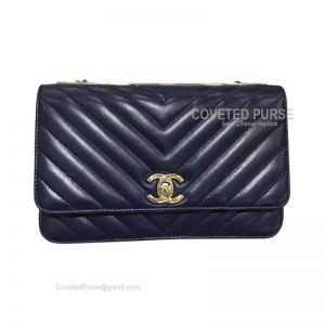 Chanel Flap WOC Lambskin Chevron With Gold HW Sapphire Blue