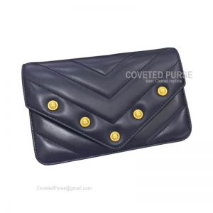 Chanel Flap WOC Lambskin Chevron With Gold HW Grey Blue