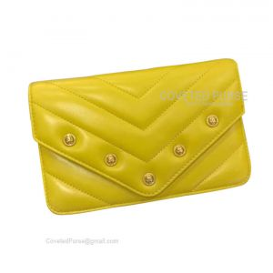 Chanel Flap WOC Lambskin Chevron With Gold HW Mango Yellow