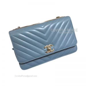 Chanel Flap WOC Lambskin Chevron With Silver HW Dream Blue