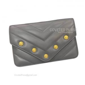 Chanel Flap WOC Lambskin Chevron With Gold HW Dark Grey