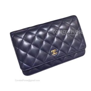 Chanel Flap WOC Lambskin With Gold HW Sapphire