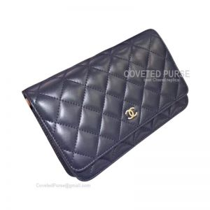 Chanel Flap WOC Lambskin With Silver HW Sapphire
