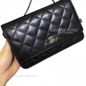 Chanel Flap WOC Lambskin With Silver HW Black
