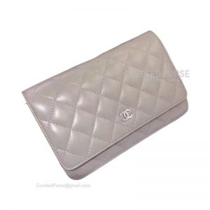 Chanel Flap WOC Lambskin With Silver HW Gray
