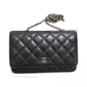 Chanel Flap WOC Lambskin With Silver HW Classics Black