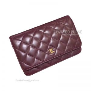 Chanel Flap WOC Lambskin With Gold HW Bordeaux