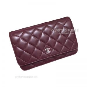 Chanel Flap WOC Lambskin With Silver HW Bordeaux