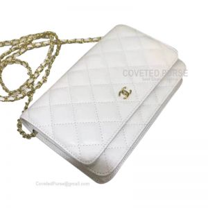 Chanel Flap WOC Caviar With Gold HW White