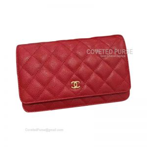 Chanel Flap WOC Caviar With Gold HW Red