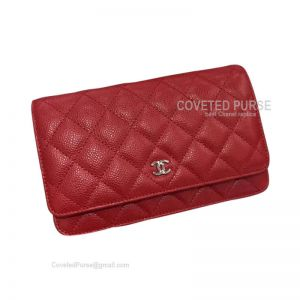 Chanel Flap WOC Caviar With Silver HW Red