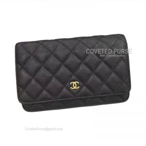 Chanel Flap WOC Caviar With Gold HW Black