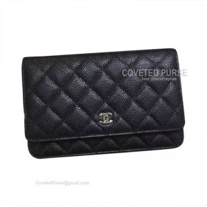 Chanel Flap WOC Caviar With Silver HW Black