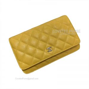 Chanel Flap WOC Caviar With Silver HW Mango Yellow