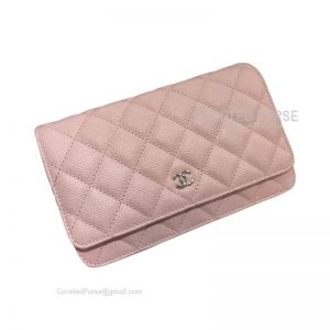 Chanel Flap WOC Caviar With Silver HW Light Pink