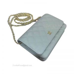 Chanel Flap WOC Caviar With Gold HW Light Blue