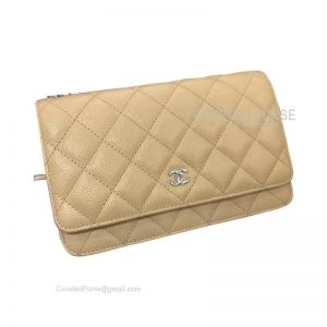 Chanel Flap WOC Caviar With Silver HW Apricot