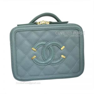 Chanel Vanity Case Mini In Mint Green Caviar With Gold HW