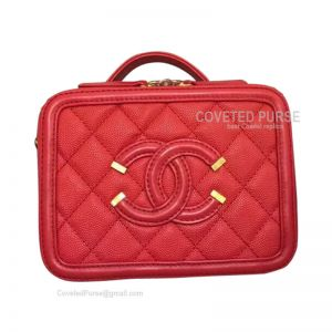 Chanel Vanity Case Mini In Red Caviar With Gold HW
