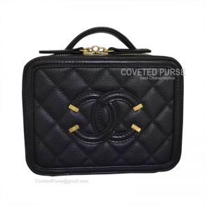 Chanel Vanity Case Mini In Black Caviar With Gold HW