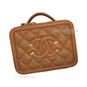 Chanel Vanity Case Mini In Caramel Caviar With Gold HW