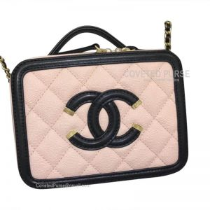 Chanel Vanity Case Mini In Apricot Pink Caviar With Gold HW