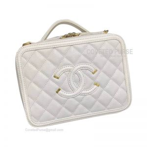 Chanel Vanity Case Small In White Caviar With Gold HW