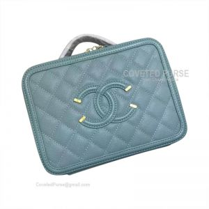 Chanel Vanity Case Small In Mint Green Caviar With Gold HW