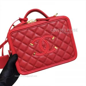 Chanel Vanity Case Small In Red Caviar With Gold HW