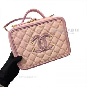 Chanel Vanity Case Small In Pink Caviar With Gold HW