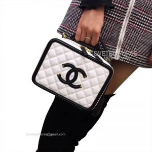 Chanel Vanity Case Small In Black And White Caviar With Gold HW