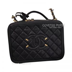 Chanel Vanity Case Small In Black Caviar With Gold HW