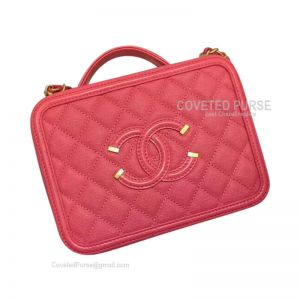 Chanel Vanity Case Small In Watermelon Red Caviar With Gold HW