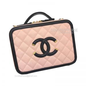 Chanel Vanity Case Small In Apricot Pink Caviar With Gold HW