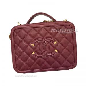 Chanel Vanity Case Small In Bordeaux Caviar With Gold HW