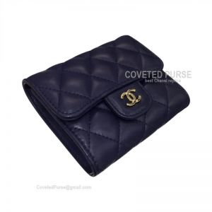 Chanel Classic Small Wallet In Sapphire Blue Lambskin With Shiny Gold HW