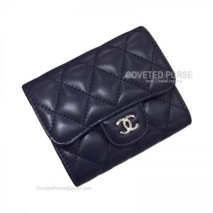 Chanel Classic Small Wallet In Sapphire Blue Lambskin With Shiny Silver HW