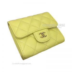 Chanel Classic Small Wallet In Lemon Yellow Lambskin With Shiny Gold HW