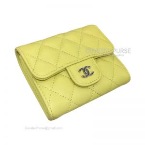 Chanel Classic Small Wallet In Lemon Yellow Lambskin With Shiny Silver HW