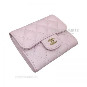 Chanel Classic Small Wallet In Light Pink Lambskin With Shiny Gold HW