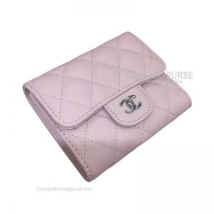 Chanel Classic Small Wallet In Light Pink Lambskin With Shiny Silver HW