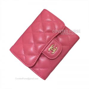 Chanel Classic Small Wallet In Watermelon Red Lambskin With Shiny Gold HW