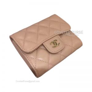 Chanel Classic Small Wallet In Apricot Lambskin With Shiny Gold HW